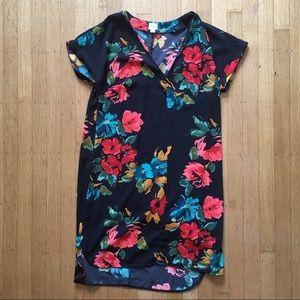 V-Neck Black with Floral Shift Dress